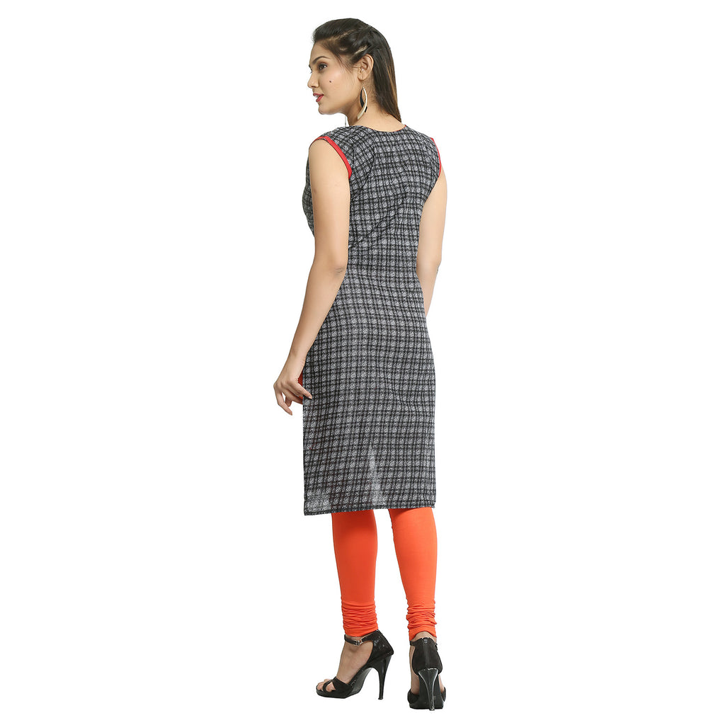 Black Cotton Checks Sleeveless Kurti