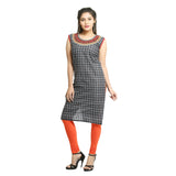 Black Cotton Checks Sleeveless Kurti for Women