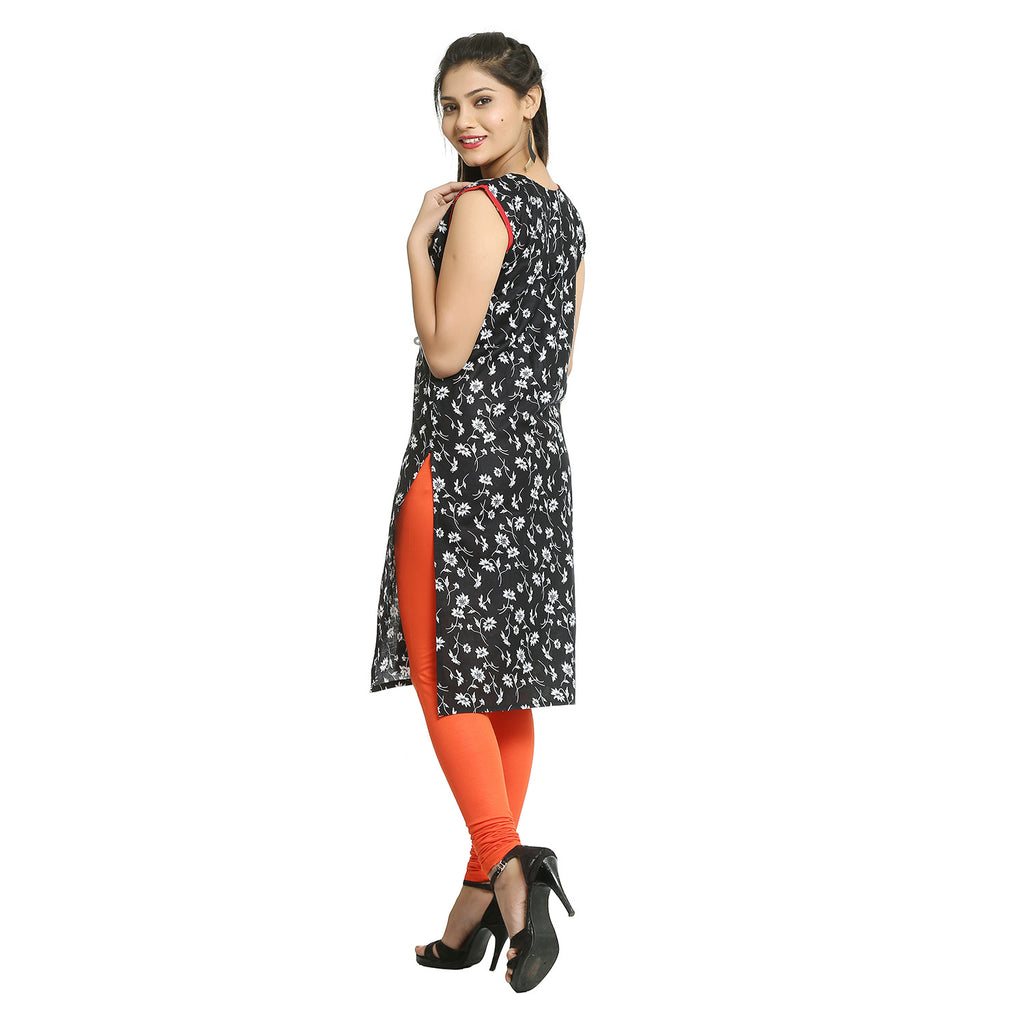 Black Cotton Floral Printed Sleeveless Kurti
