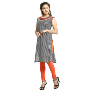 Black Cotton Sleeveless Printed Kurti