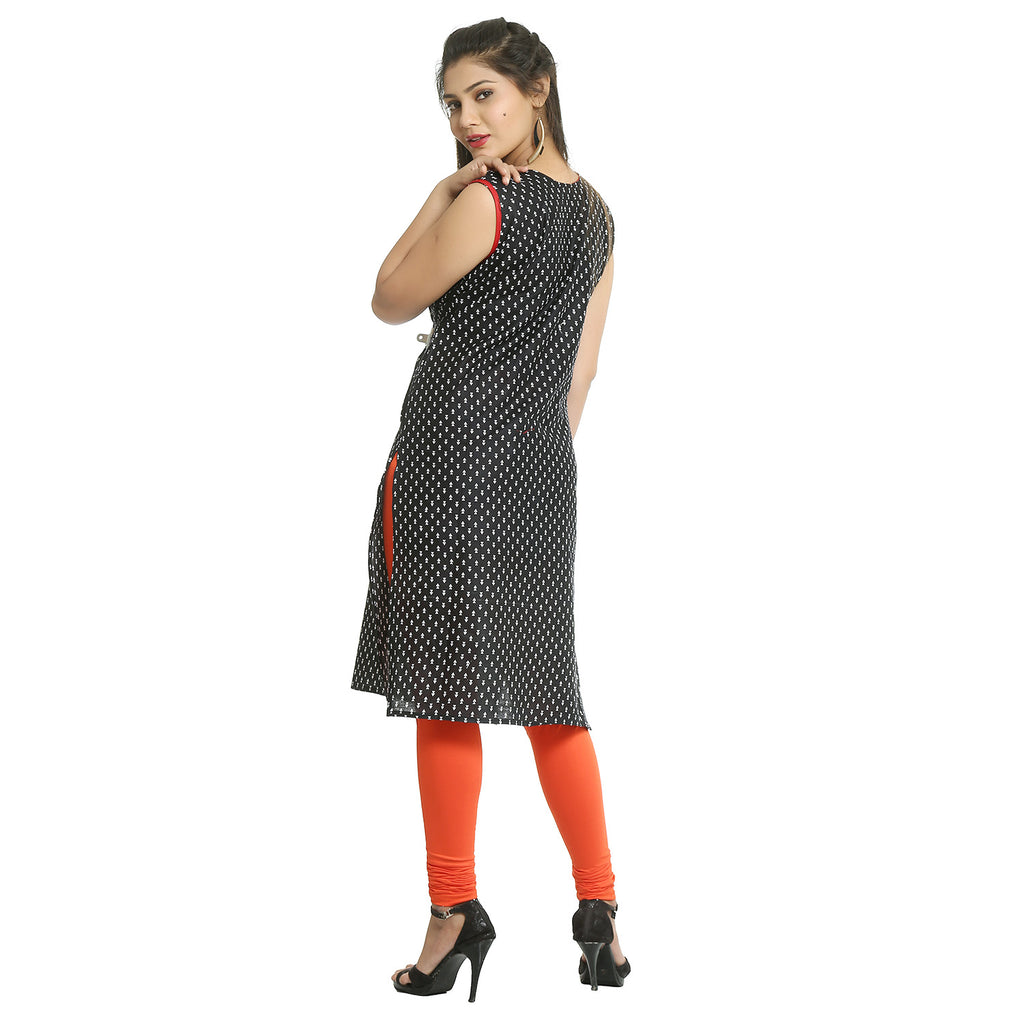 Black Cotton Sleeveless Side Slit Kurti