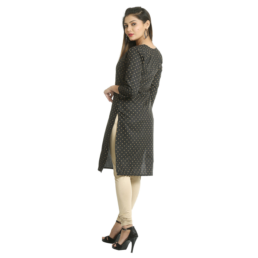 Black Cotton V-neck Printed Kurti