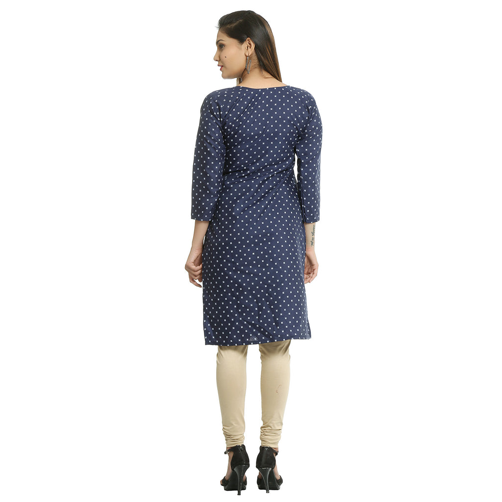 Navy Blue Cotton V-neck Printed Kurti
