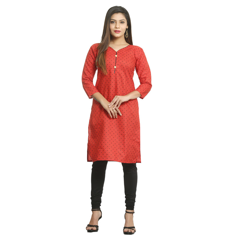 Red Cotton V-Neck Printed Kurti