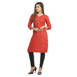 Red Cotton V-Neck Printed Kurti for Women