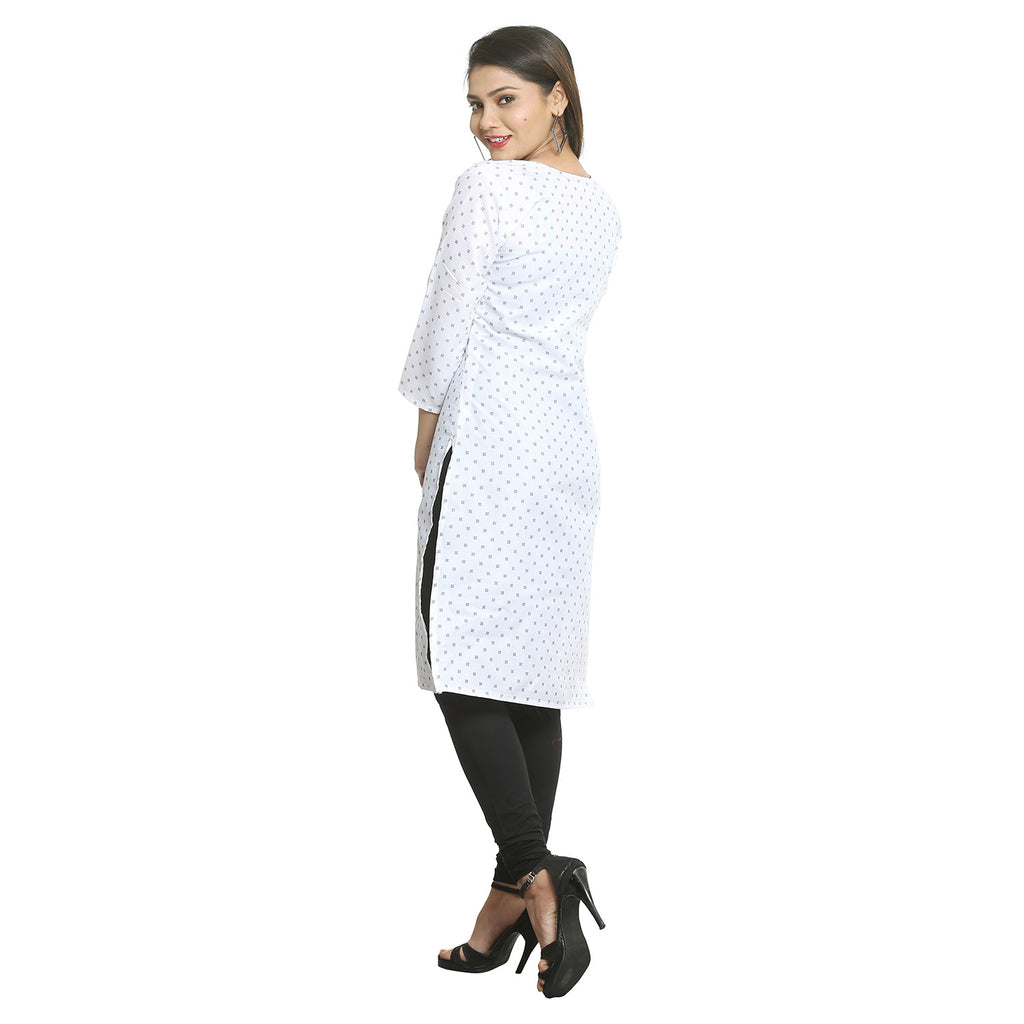 White Cotton V-neck Printed Kurti