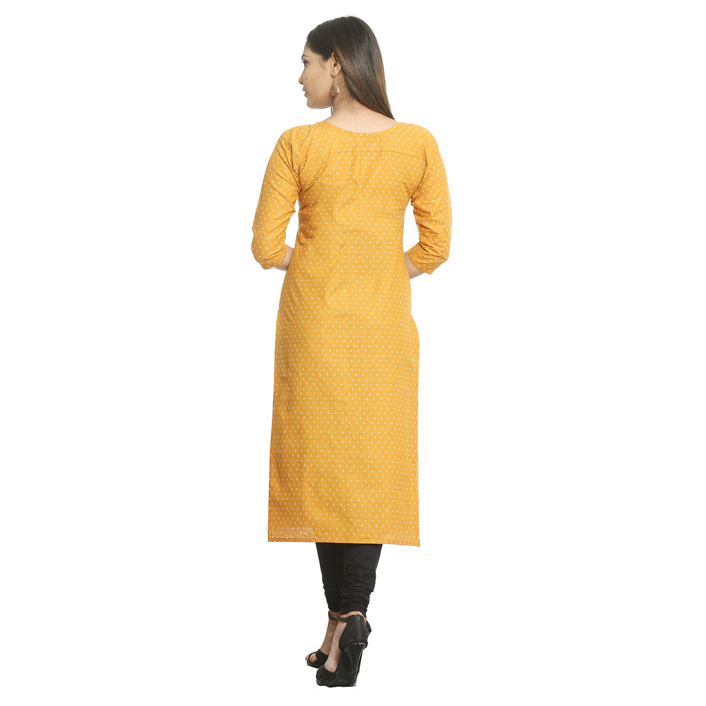 Mustard Cotton Round Neck Printed Kurti
