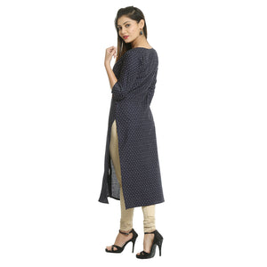 Navy Blue Cotton Round Neck Printed Kurti