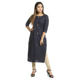 Navy Blue Cotton Round Neck Printed Kurti for Women