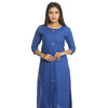 Royal Blue Cotton Round Neck Printed Kurti