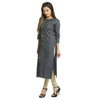 Green Denim Calf Length Printed Kurti