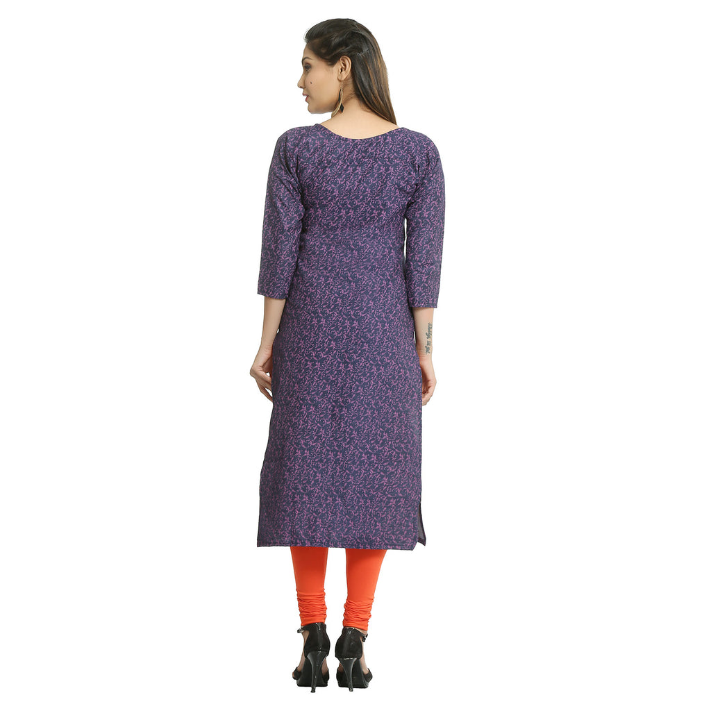 Dark Pink Denim Calf Length Printed Kurti