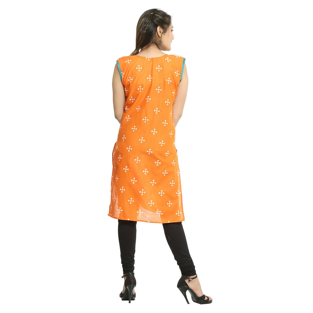 Orange Cotton Bandhani Printed Kurti