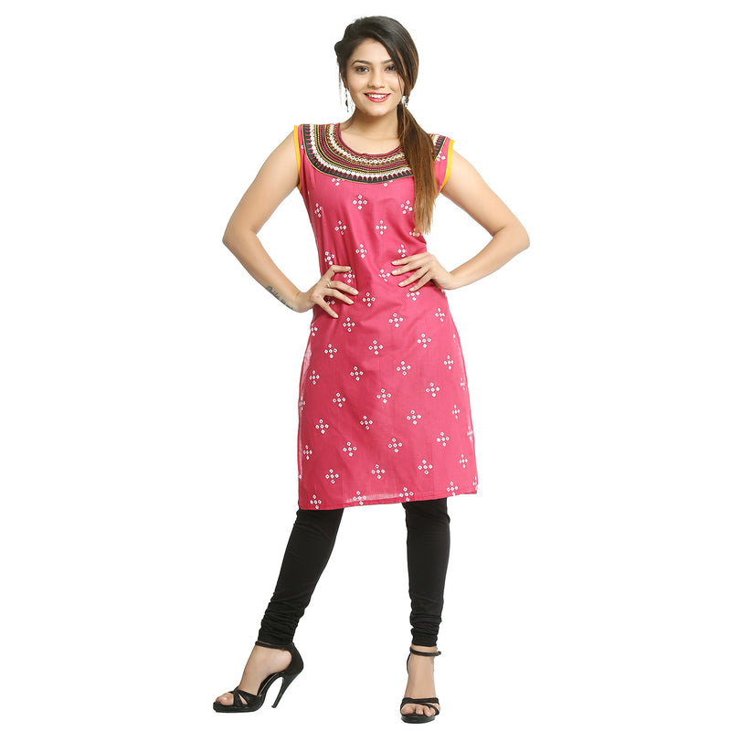 Dark Pink Cotton Bandhani Printed Kurti