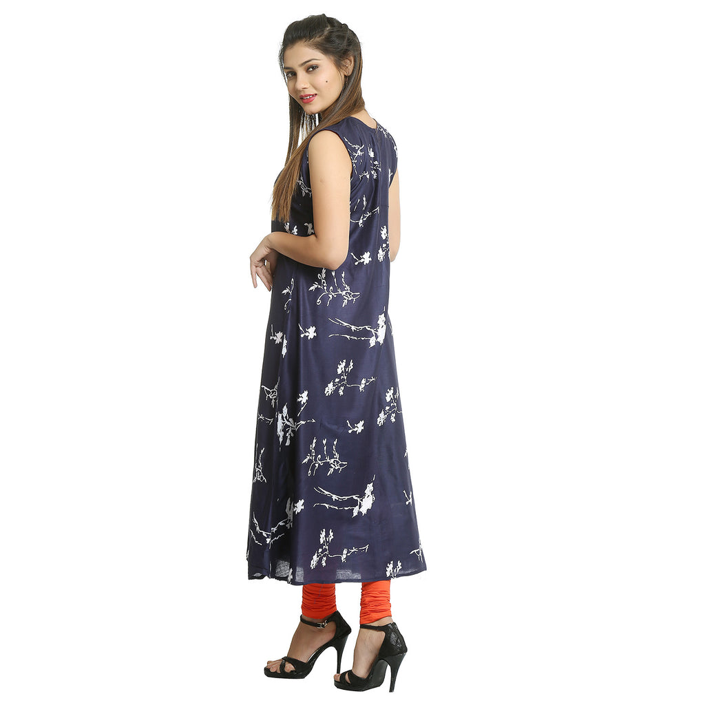 Navy Blue Rayon Sleeveless Kurti