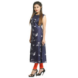 Navy Blue Rayon Sleeveless Kurti for Women