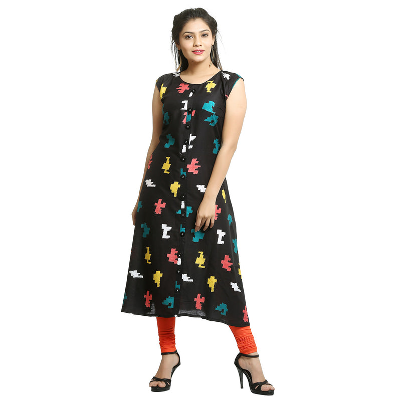 Black Rayon Sleeveless Printed Kurti