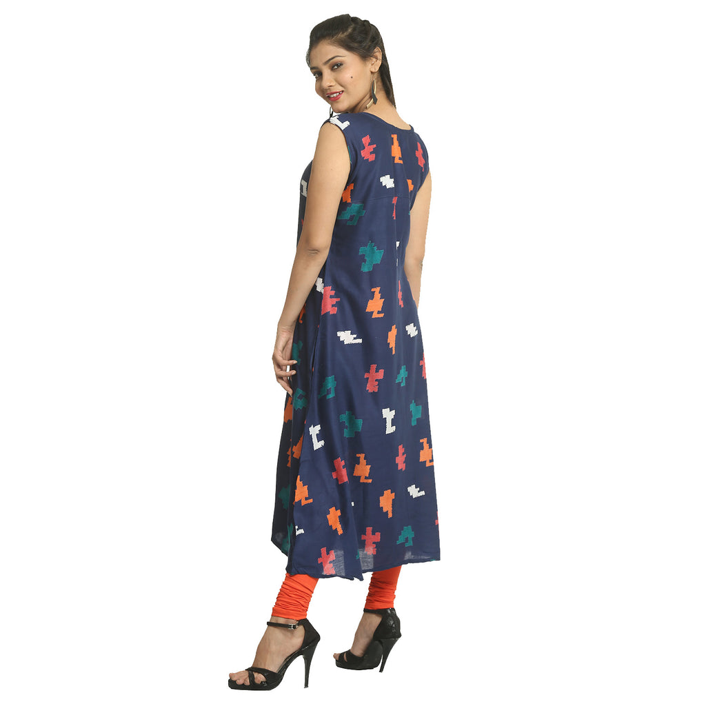 Navy Blue Rayon Sleeveless Printed Kurti