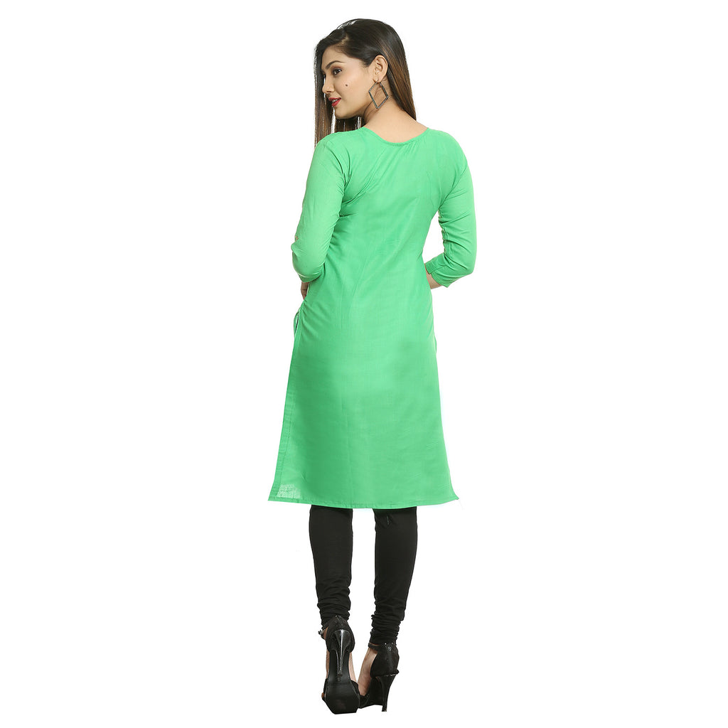Green Straight Cotton Kurti