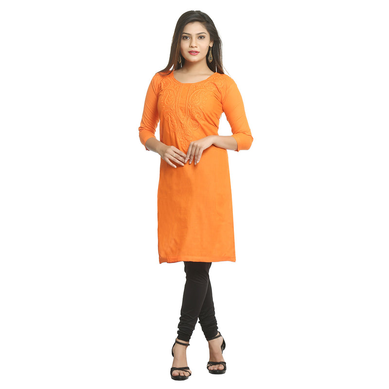 Orange Straight Cotton Kurti