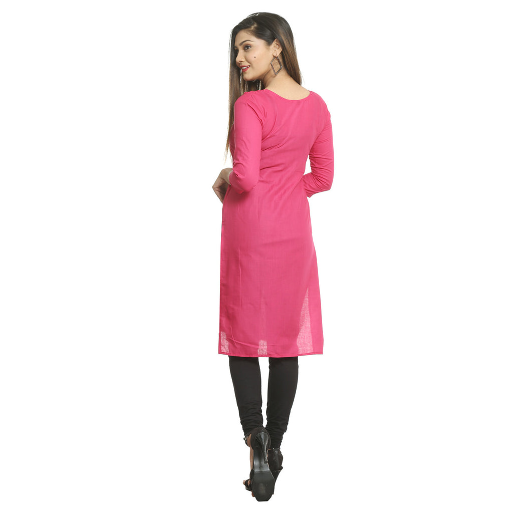 Dark Pink Straight Cotton Kurti