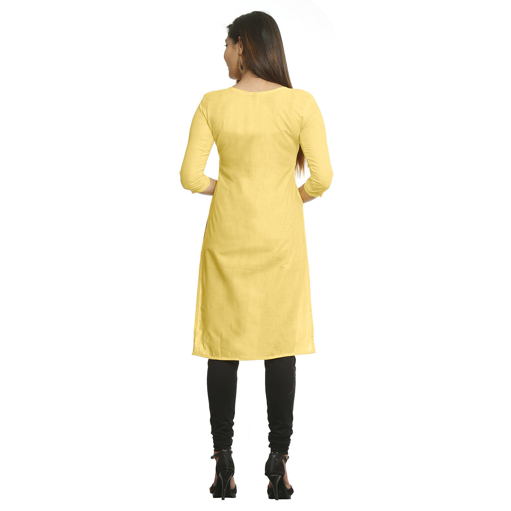 Yellow Straight Cotton Kurti