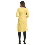 Yellow Straight Cotton Kurti for Women