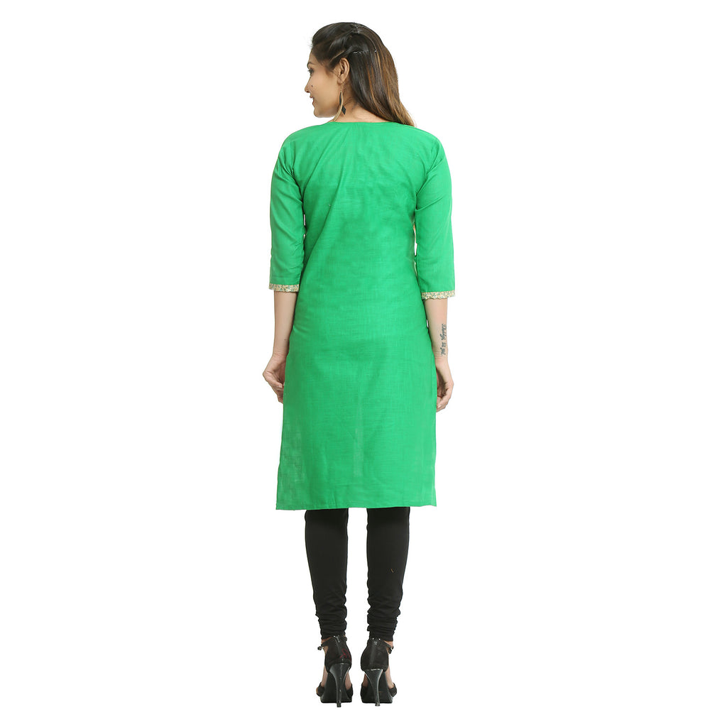 Green Cotton 3/4th Sleeved Straight Kurti
