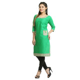 Green Cotton 3/4th Sleeved Straight Kurti for Women