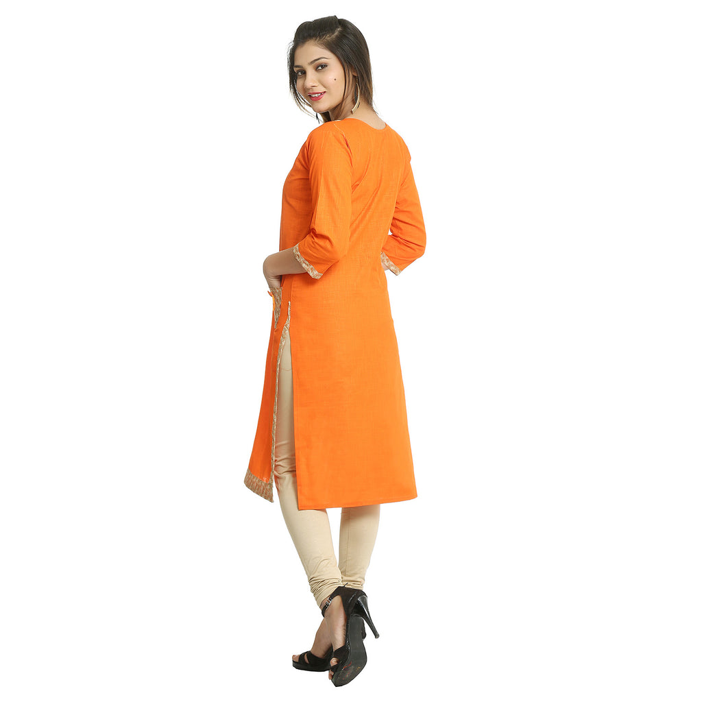 Orange Cotton 3/4th Sleeved Straight Kurti
