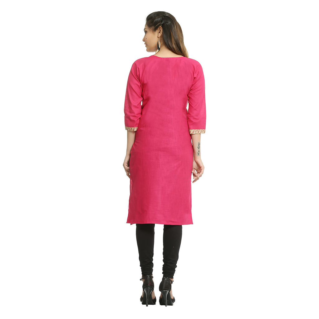 Dark Pink Cotton 3/4th Sleeved Straight Kurti
