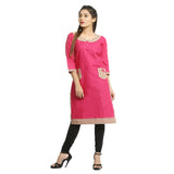 Dark Pink Cotton 3/4th Sleeved Straight Kurti for Women