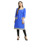 Royal Blue Cotton 3/4th Sleeved Straight Kurti for Women