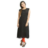 Solid Black Rayon Sleeveless Kurti