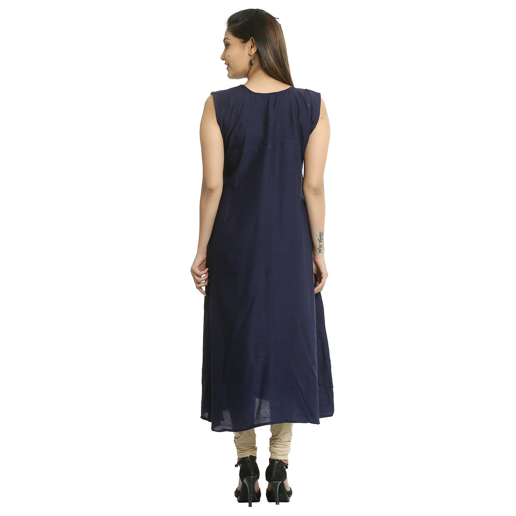 Solid Navy Blue Rayon Sleeveless Kurti