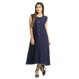 Solid Navy Blue Rayon Sleeveless Kurti for Women