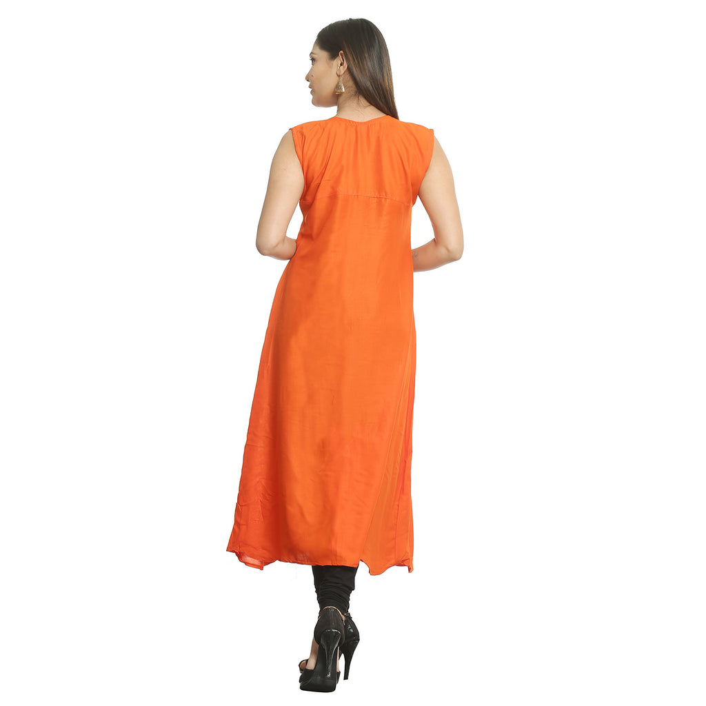 Solid Orange Rayon Sleeveless Kurti
