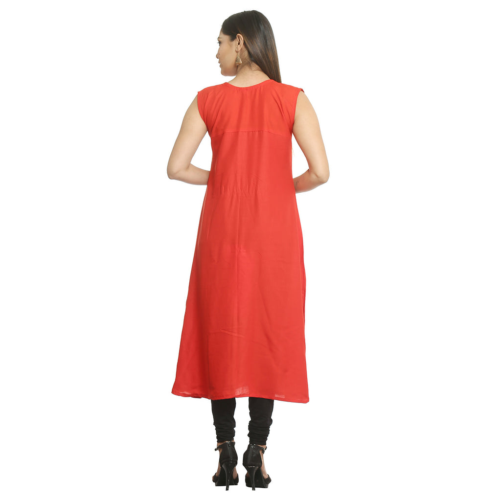 Solid Red Rayon Sleeveless Kurti