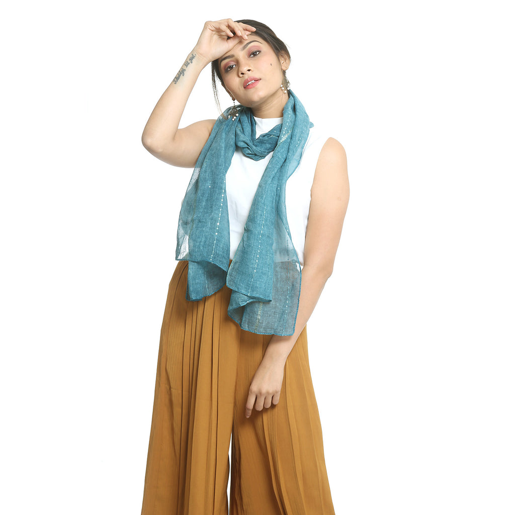 Blue Cotton Stole