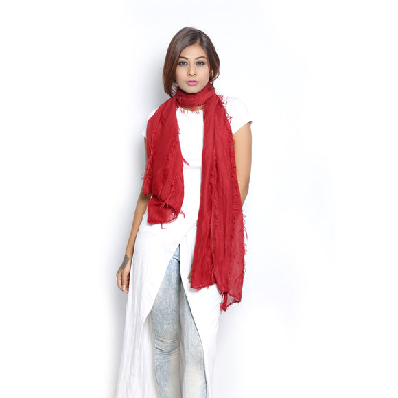 Frayed Red Scarf