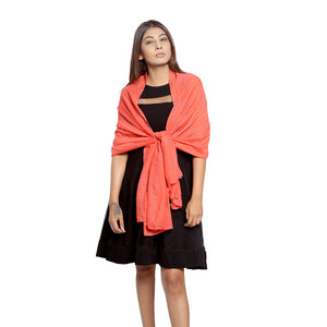 Coral Chechered Scarf