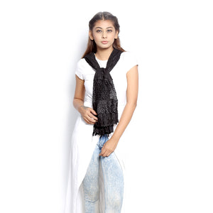 Black Scarf With Lace Panel
