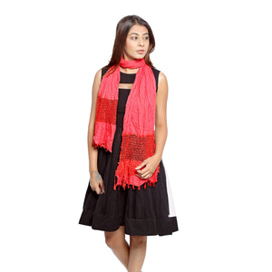 Red Scarf With Lace Panel