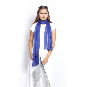 Royal Blue Chiffon Scarf