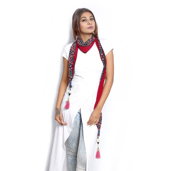 Red Printed Scarf