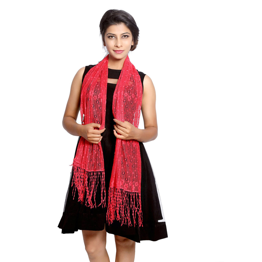 Coral Lace Stole red