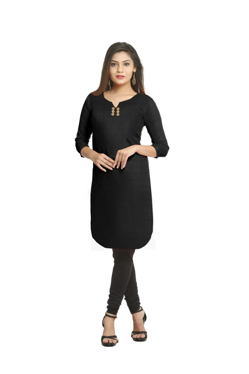 Solid Black Cotton Kurti