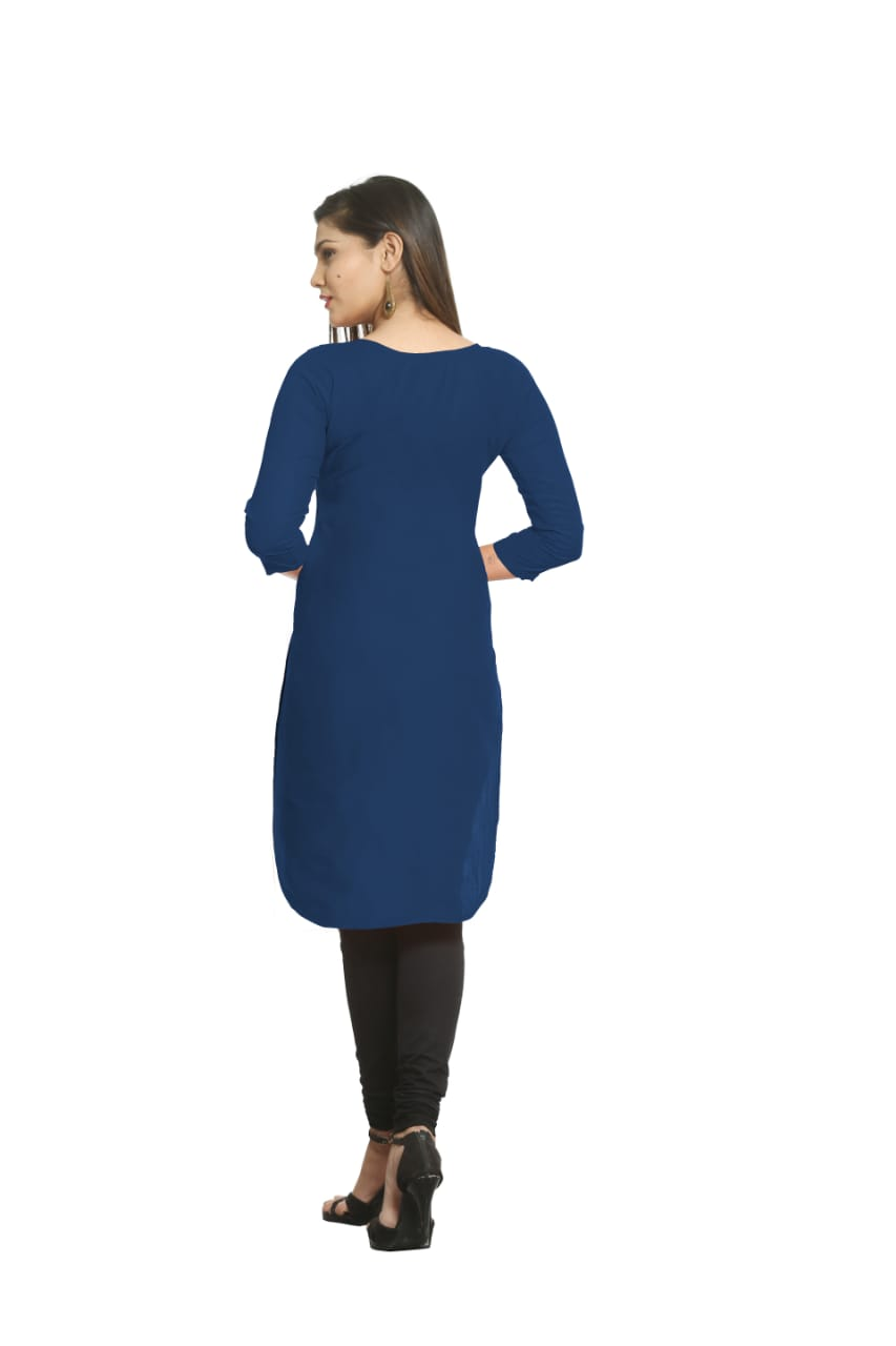 Solid Navy Blue Cotton Kurti