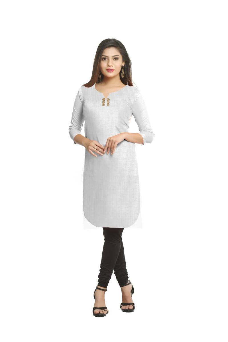 Solid Off White Cotton Kurti