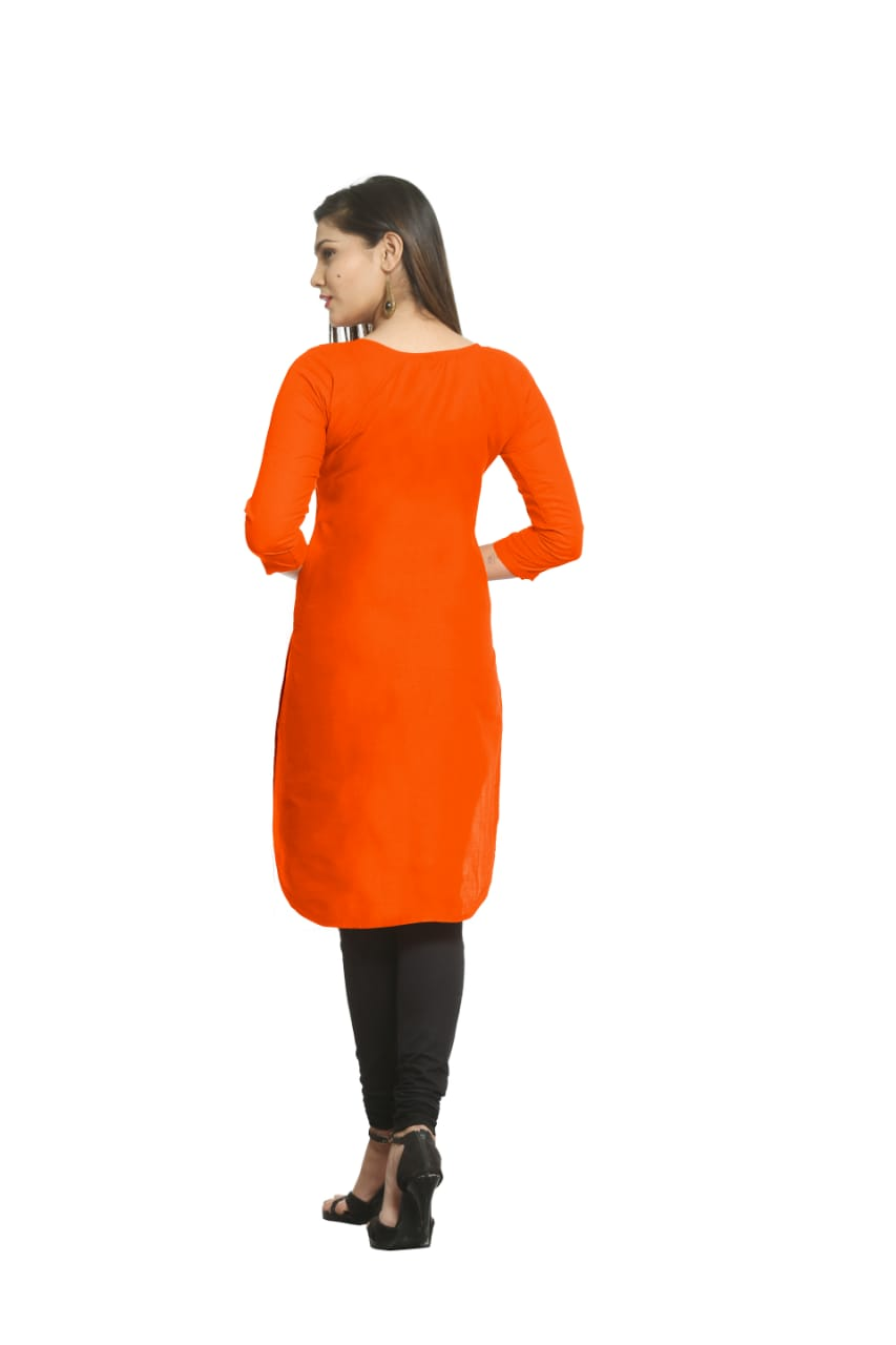 Solid Orange Cotton Kurti